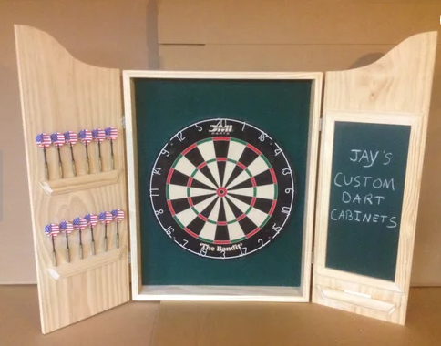 Unique home decor chalkboard custom dart cabinet to keep score Jay's custom dart cabinets