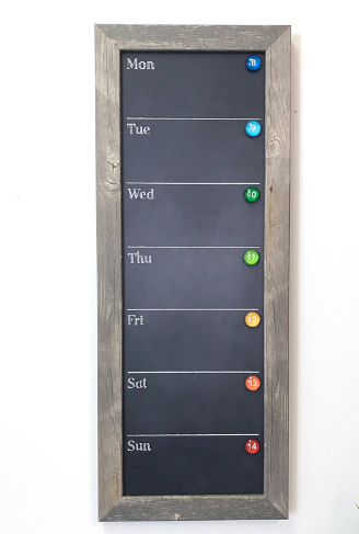 Unique home decor chalkboard week calendar with magnets
