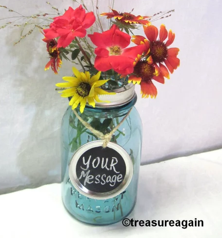 Unique home decor chalkboard tag for a mason jar centerpiece with flowers