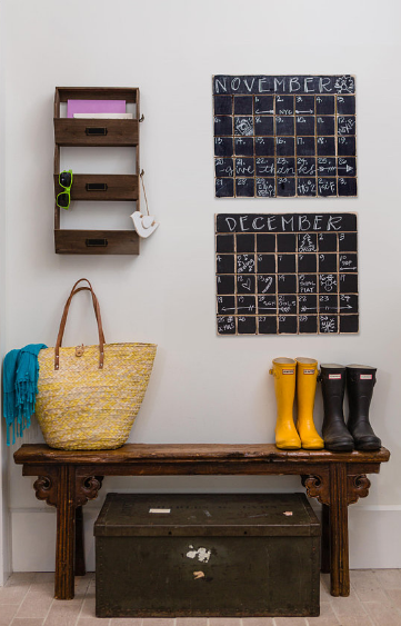 Unique Home Decor Chalkboard calendars front entryway bench trunk boots bag mail holder