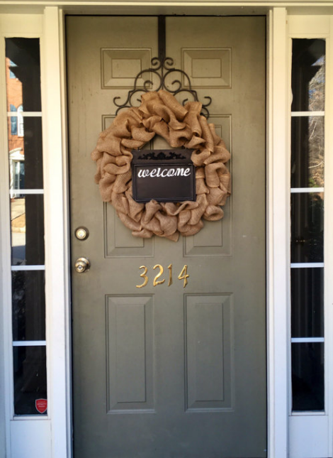 Unique home decor chalkboard front door welcome burlap wreath chalkboard sign