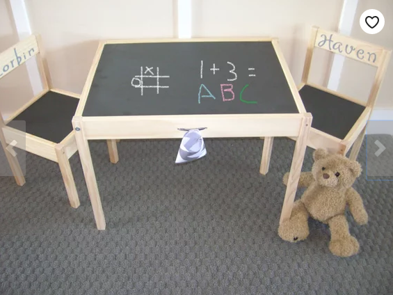 Unique home decor chalkboard children's table and chairs bear