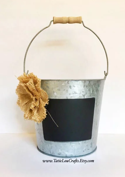 Unique home decor chalkboard metal bucket with handle and burlap flower