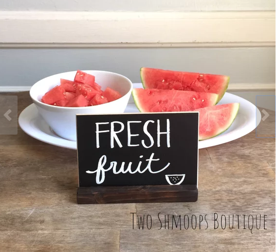 Unique home decor chalkboard table sign fresh fruit watermelon bowl plate two shmoops boutique