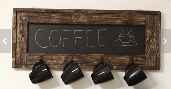 Unique home decor chalkboard coffee mug holder with coat hooks