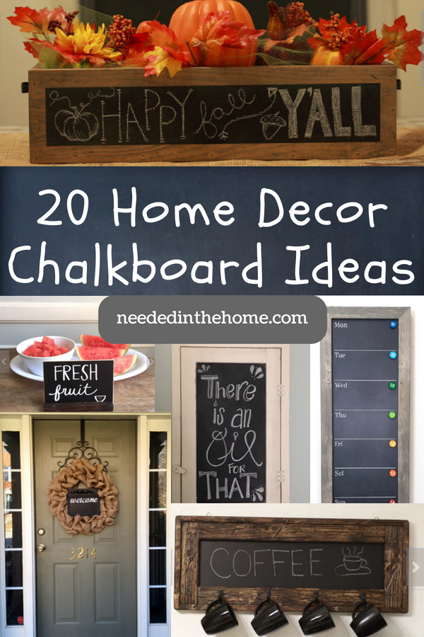 pinterest-pin-description 20 Home Decor Chalkboard Ideas floral box fresh fruit sign calendar mug holder welcome sign neededinthehome