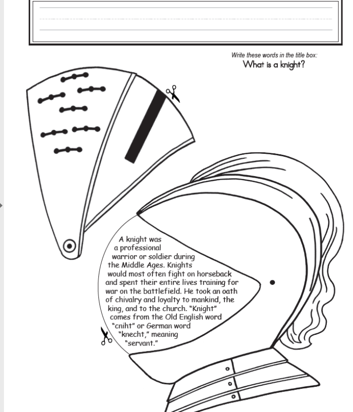 Sample project page from Homeschool In The Woods Lap Pak Knights What is a Knight helmet printout