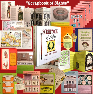 Homeschool In The Woods Scrapbook of Sights lap book examples from the Rome study
