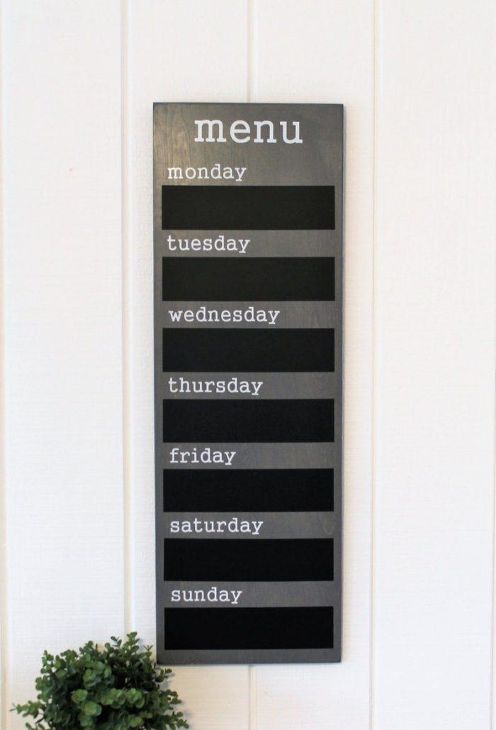 chalkboard decor menu monday tuesday wednesday thursday friday saturday sunday plant