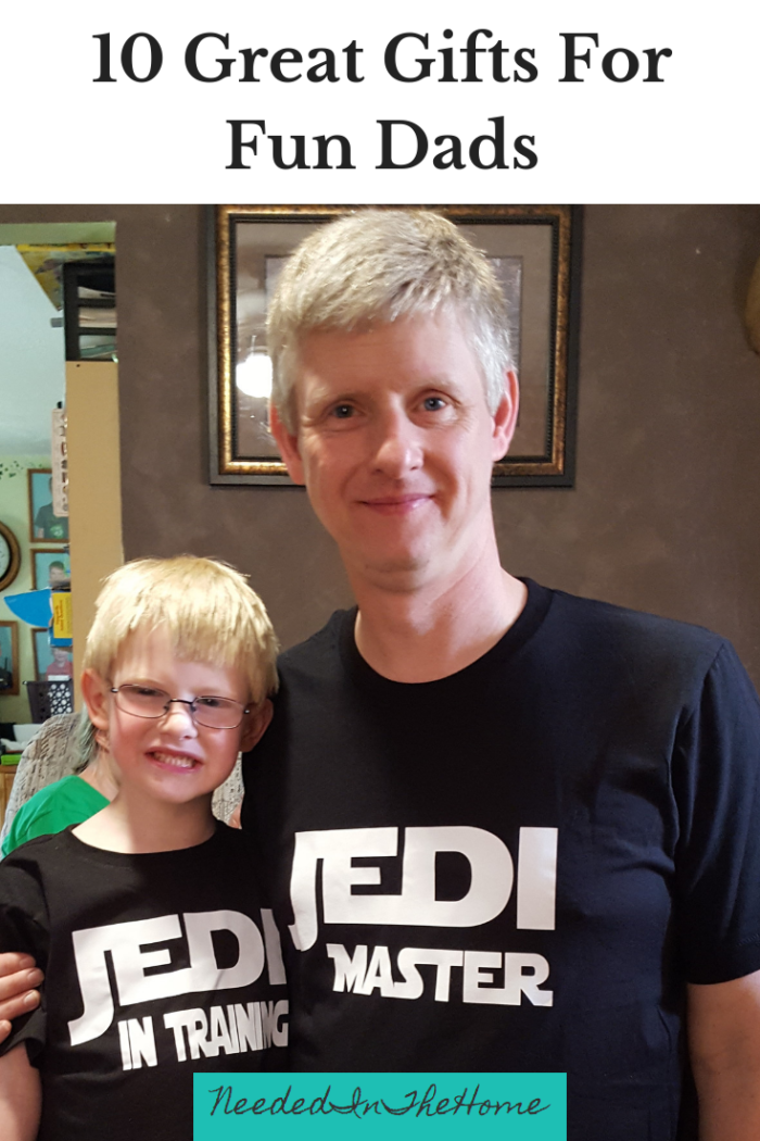 10 Great Gifts For Fun Dads To Enjoy With Their Kids - Dad and Son wearing matching Jedi shirts neededinthehome