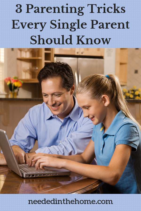3 Parenting Tricks Every Single Parent Should Know single dad and middle school daughter doing homework together on chromebook neededinthehome