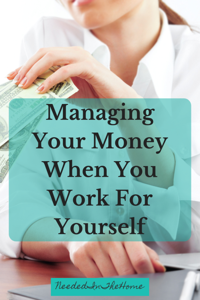 Managing Your Money When You Work For Yourself woman holding hundred dollar bills laptop neededinthehome