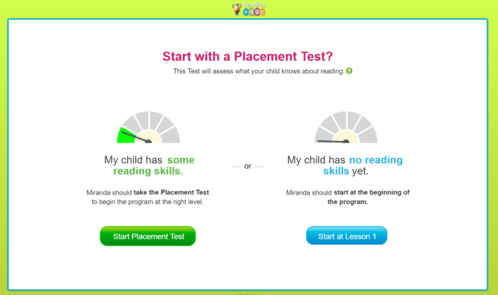 Reading Eggs workbook review start with a placement test online subscription snippet