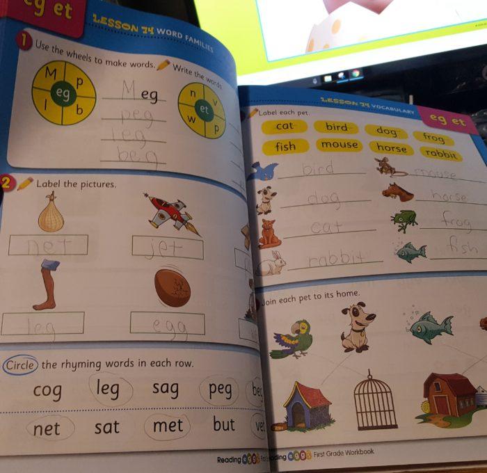 Reading Eggs workbook review inside of grade 1 work book eg et