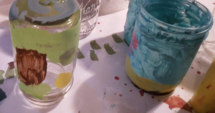 Mason Jar Crafts painted mason jars made by a seven year old girl