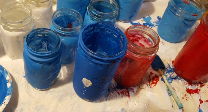 Mason Jar Crafts painted mason jars made by a six year old boy