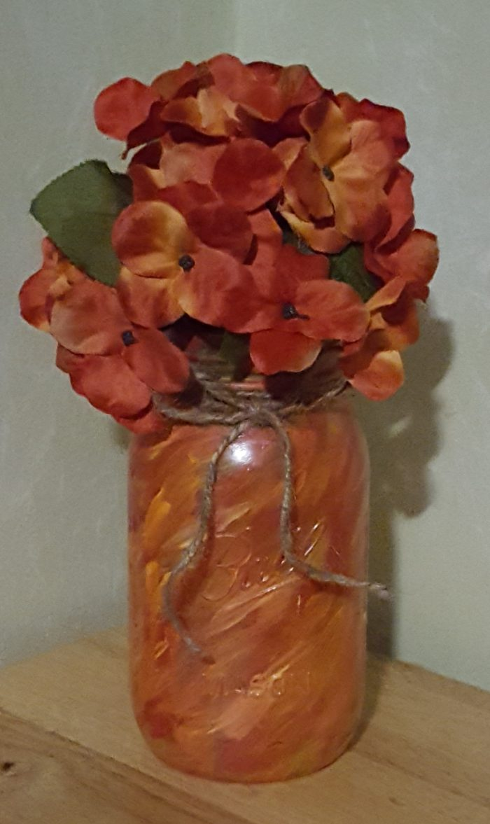 Mason jar crafts marbled look orange fall painted mason jar with flowers