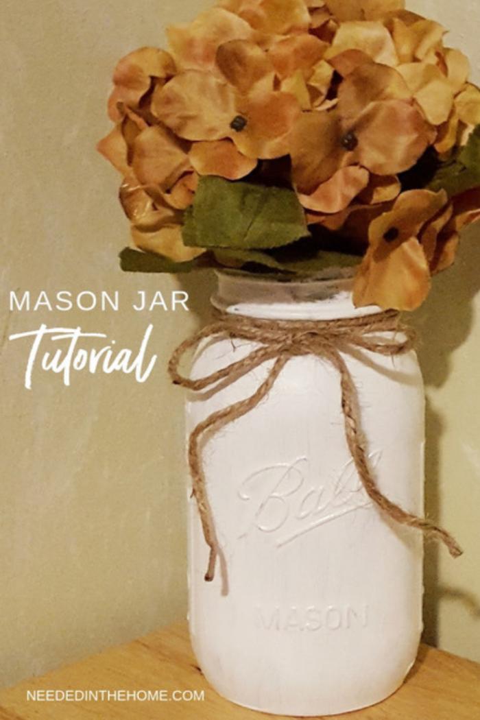 Mason Jar Tutorial artificial hydrangea flowers in a white painted ball mason jar neededinthehome