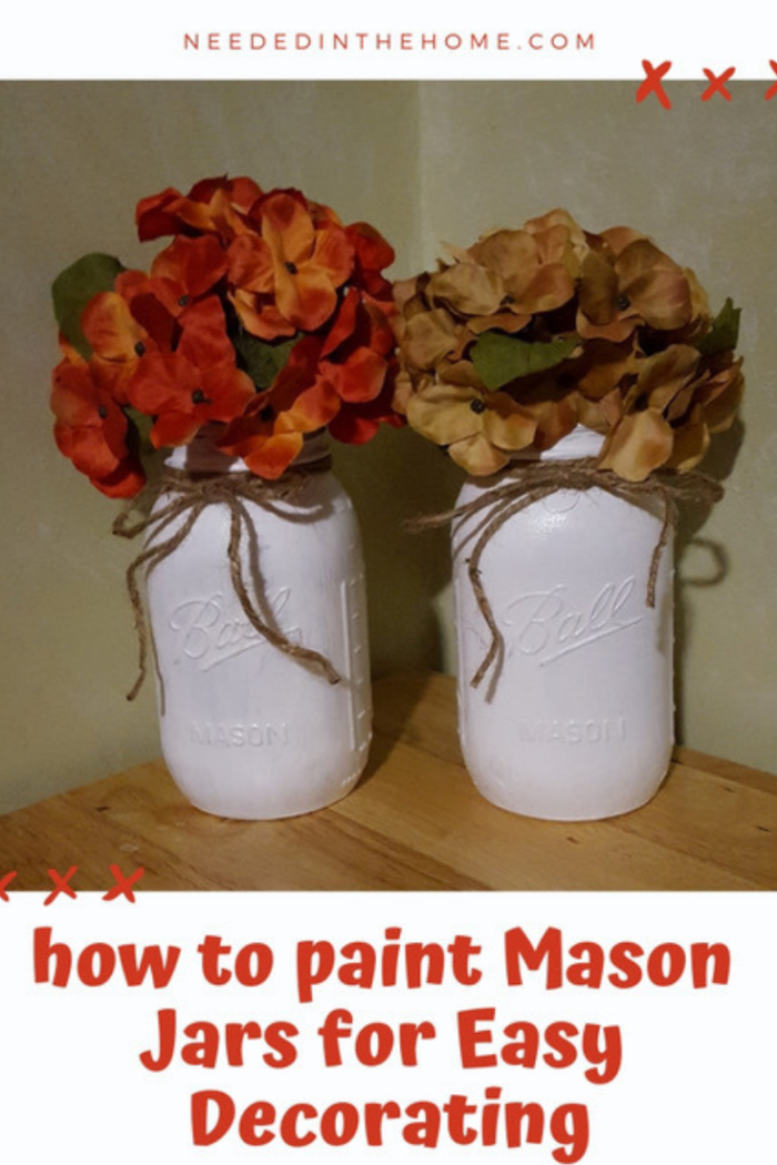 How to paint Mason Jars for Easy Decorating painted glass jar vases of artificial flowers with twine ties neededinthehome