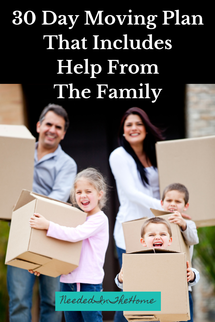 30 Day Moving Plan That Includes Help From The Family parents and children carrying moving boxes they packed with a plan neededinthehome