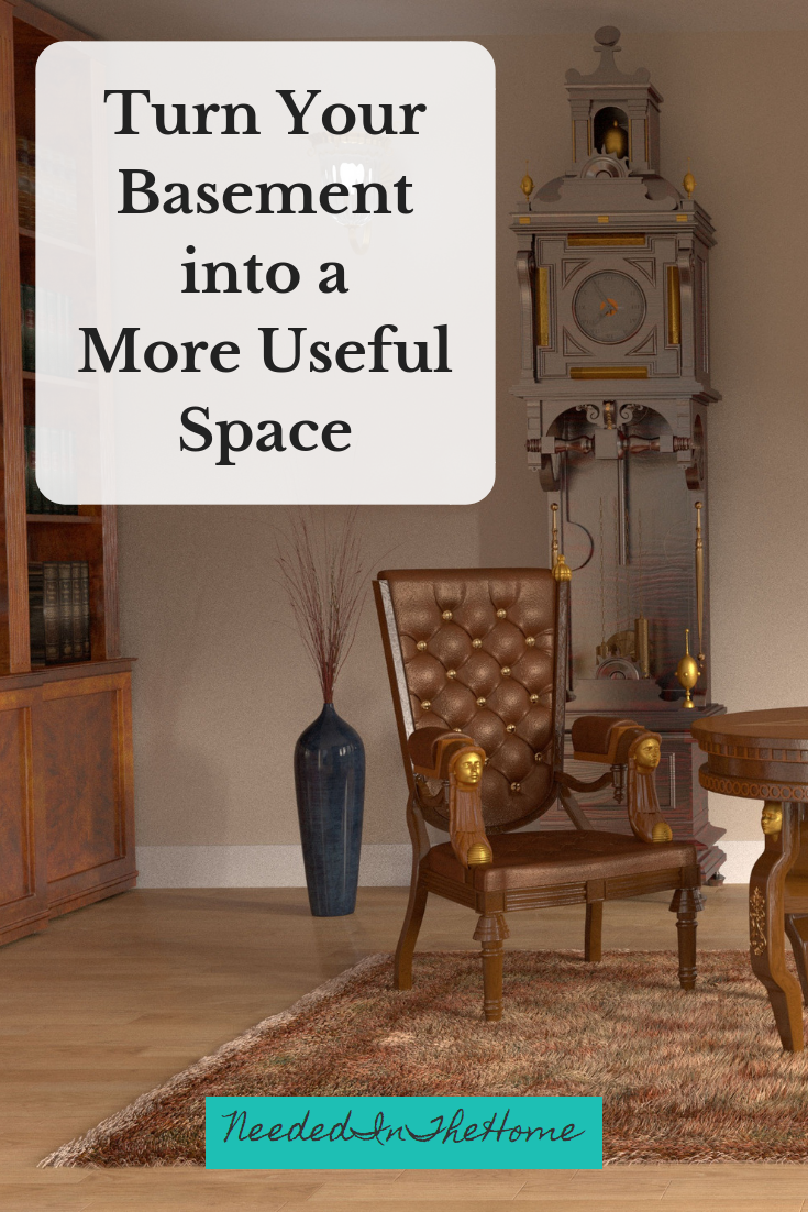 Turn Your Basement into a More Useful Space image bookcase chair plant vase grandfather clock in basement family room neededinthehome