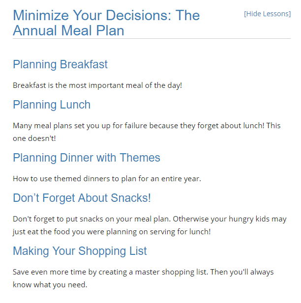 Balancing diapers and deadlines Minimize your decisions: The annual meal plan