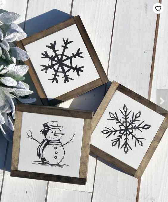 Snowman bathroom sets - wall pics set of 3 with wood frames