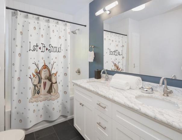 Snowman bathroom decor let it snow shower curtain three snow men tub counters sinks bath