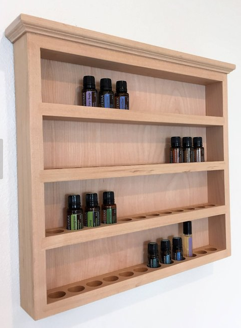 Essential oils lady - wooden wall hanging storage shelf for oil bottles