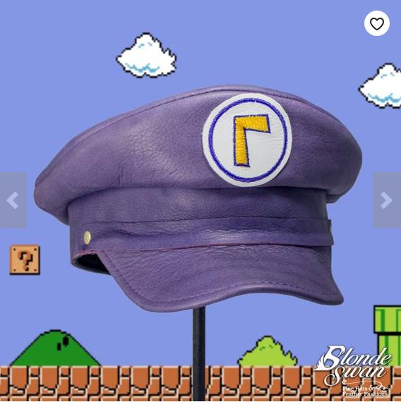Waluigi gift ideas purple plumber cap with logo
