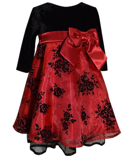 Baby girls red black velvet Christmas dress satin bow