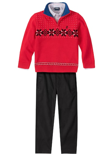 Boys 3 piece holiday outfit red