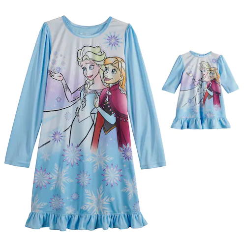 Girls Frozen Elsa Anna doll and me nightgown set blue