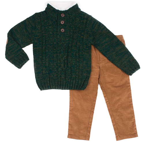 Toddler boys green sweater and pants holiday clothing set