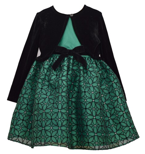 Toddler girls green dress holiday style