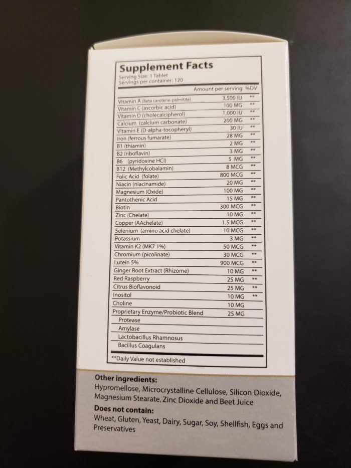 Product review of morningpep prenatal image of supplement facts on side of box ingredients no iodine