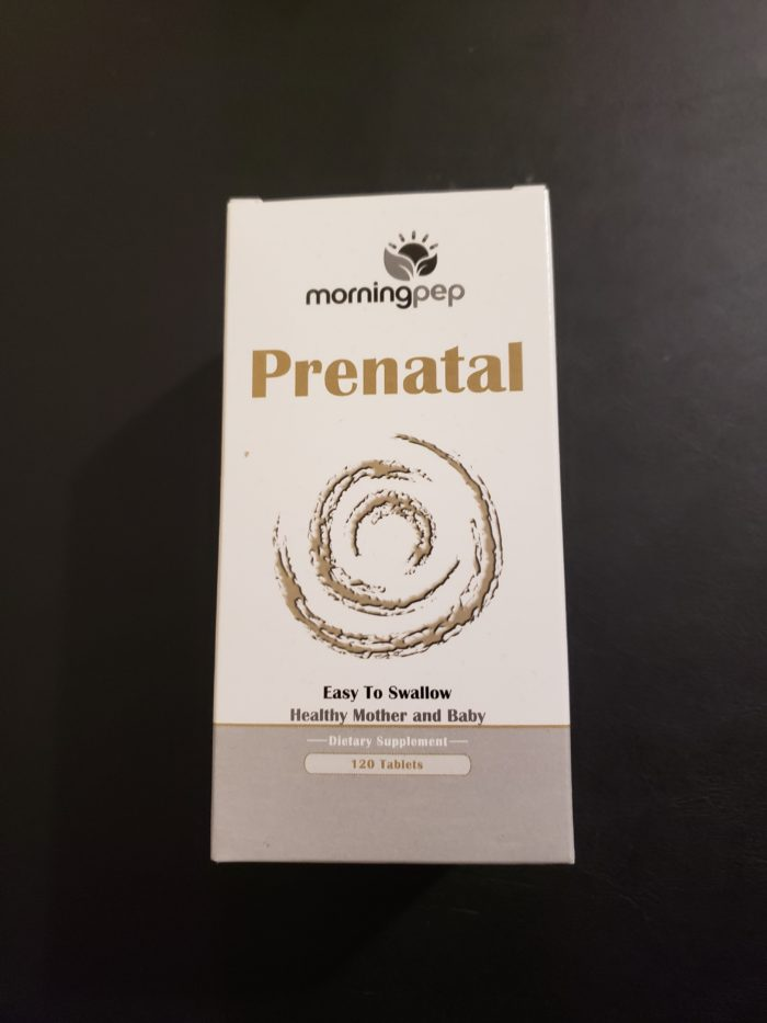 Product review of morningpep prenatal product image of box of dietary supplement