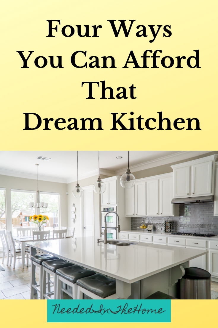 Four Ways You Can Afford That Dream Kitchen island sink and bar stools in kitchen dining area white cupboards neededinthehome
