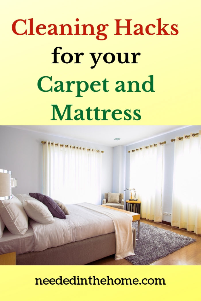 Cleaning Hacks for your Carpet and Mattress bedroom with bed and thick rug on the floor neededinthehome