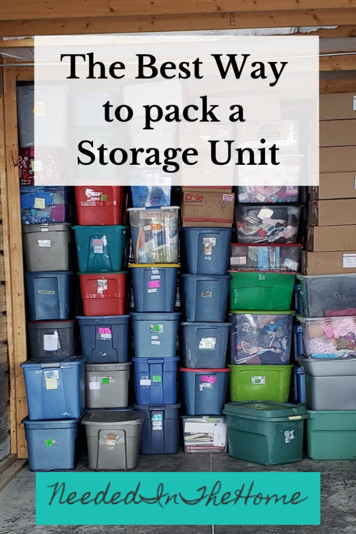 The Best Way To Pack A Storage Unit plastic totes and cardboard moving boxes stacked to the ceiling neededinthehome