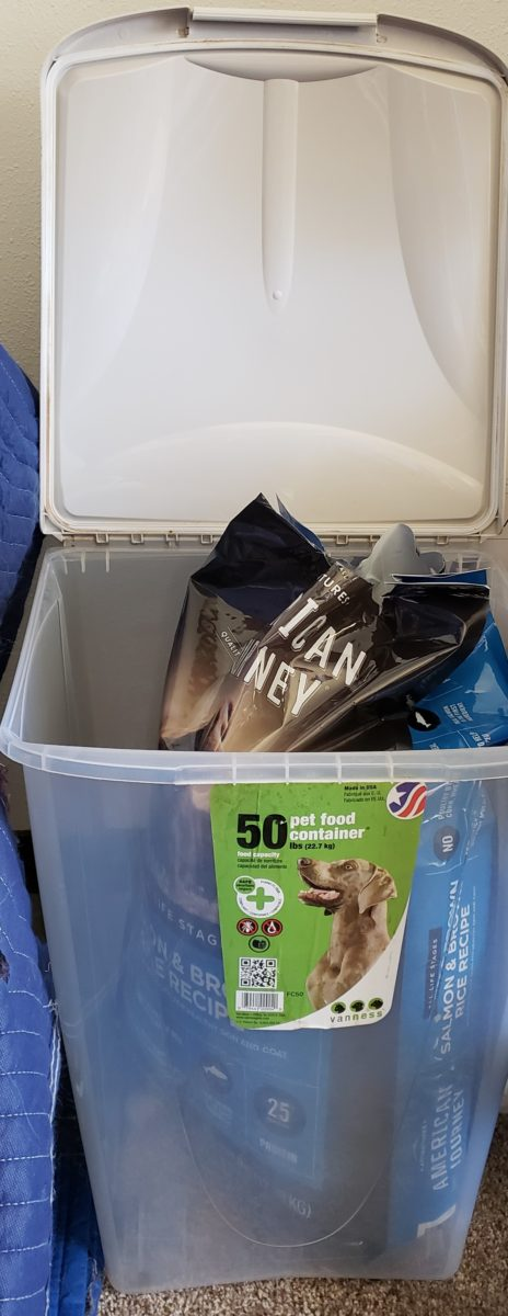 Honest chewy review the American Journey 28 lb bag of dog food fits nicely in a plastic dog food tote