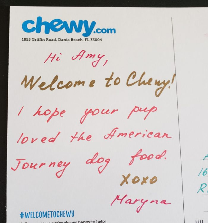 chewy.com postcard with handwriting in marker by Maryna #welcometochewy