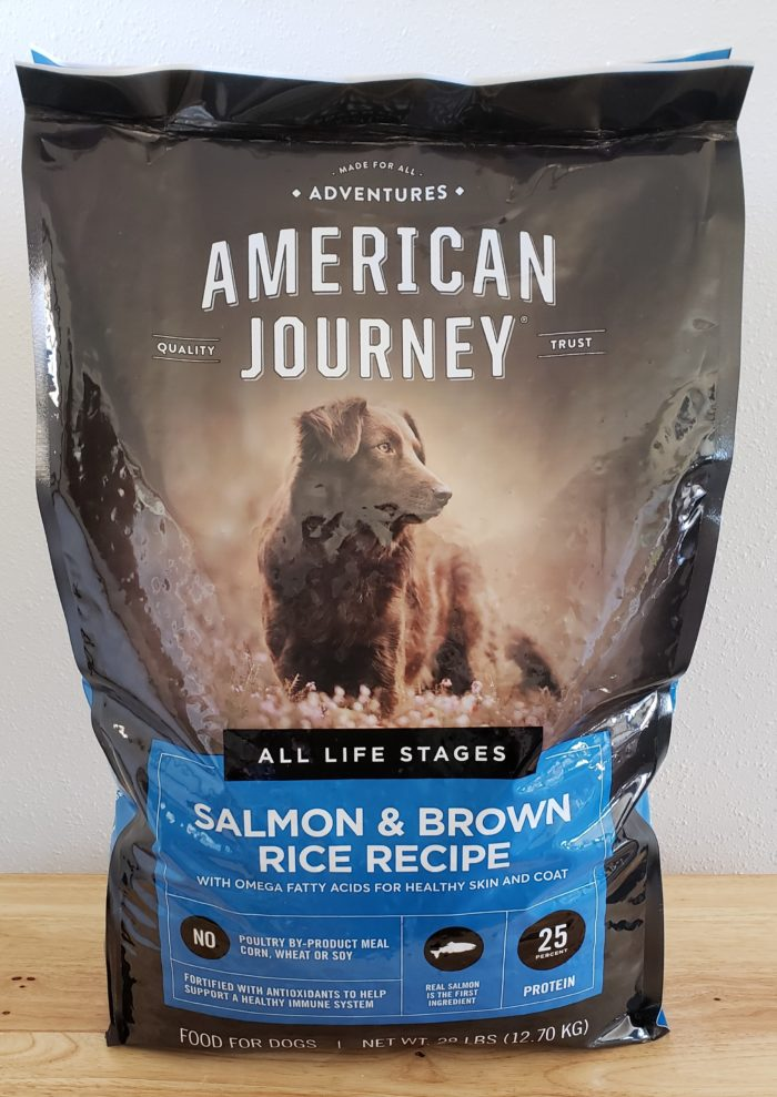 Honest chew review American Journey Salmon & Brown Rice Recipe dog food bag
