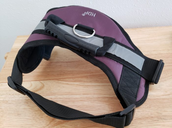 Honest chewy.com reviews HDP harness with a handle in purple color