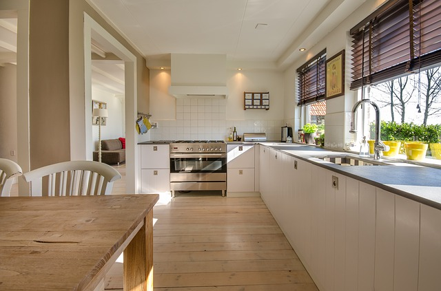 Home sparkling clean kitchen counters wood floors table
