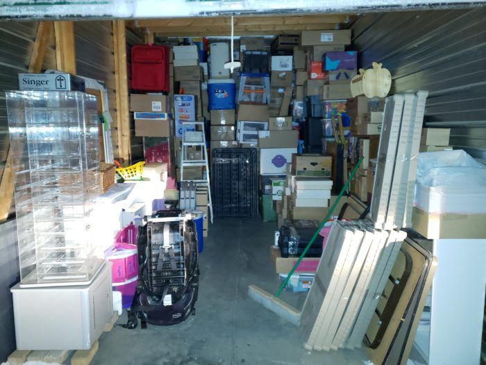 Best way to pack a storage unit ladder to stack items to ceiling large items on sides