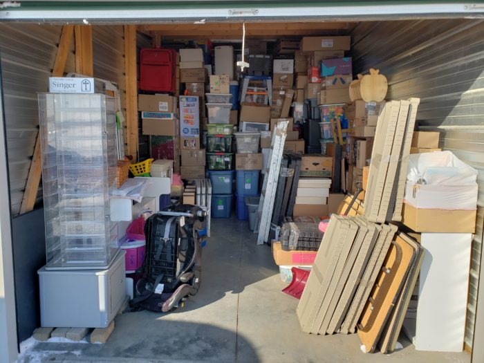 Best way to pack a storage unit tall items and tables in front of rented unit
