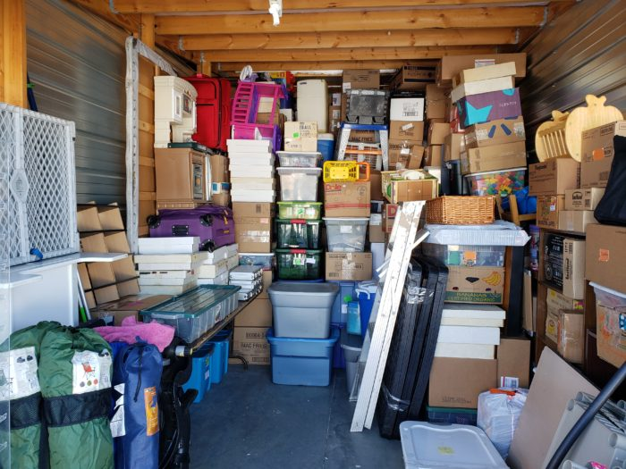 Best way to pack a storage unit small items on top of boxes