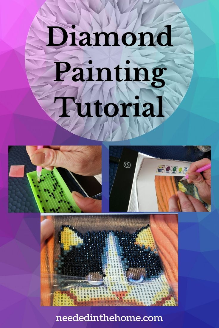Diamond Painting Tutorial sticking the diamonds on the drill applying to the canvas result is gorgeous cat face neededinthehome