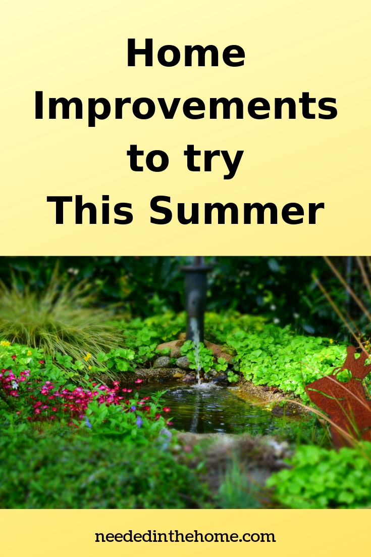 Home Improvements to try This Summer backyard pond with water fountain pipe greenery rocks flowers neededinthehome